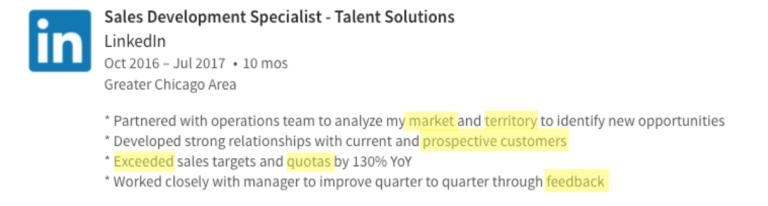 LinkedIn profile, job description