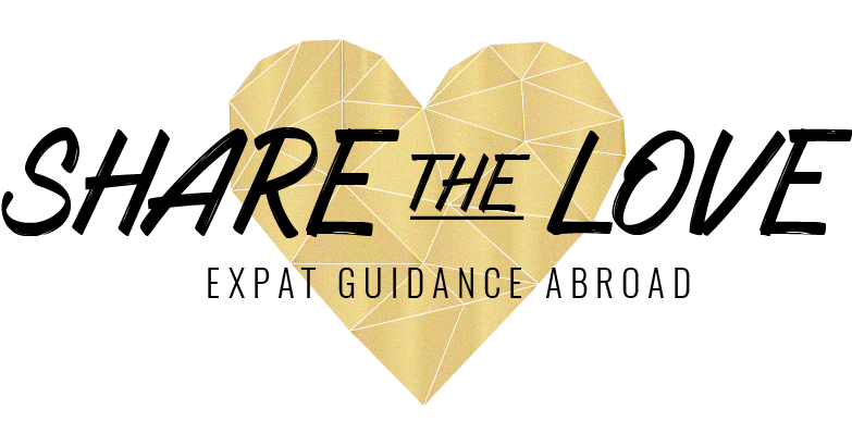 logo, sharethelove. expat, expat guidance, living abroad